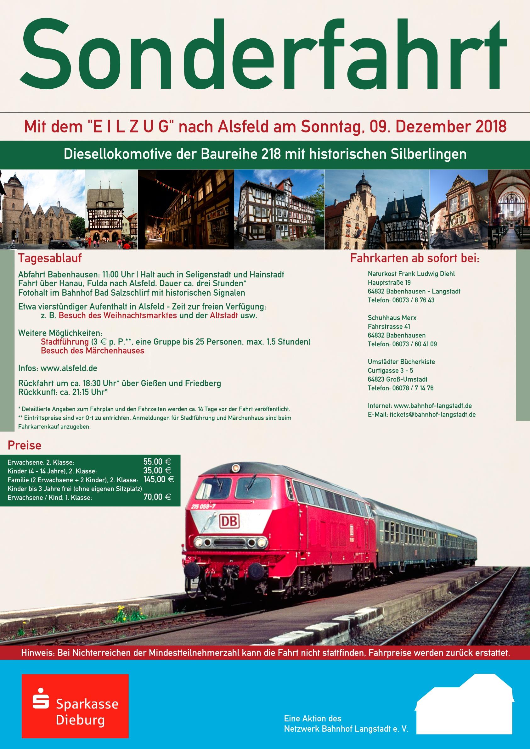 Netzwerk Bahnhof Langstadt Plakat Sonderfahrt Dez 2018